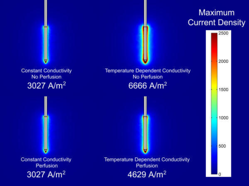 Current Density Results of FEM Models. Comparison of current density distribution for four finite element models when a source voltage of 20.0 volts is applied. Numbers represent the maximum current density in units of Amps/meter.