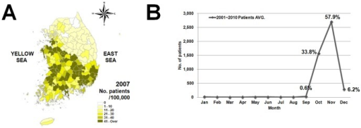 Scrub typhus incidence in 2007 (A), and average monthly number of patients with scrub typhus (B) from 2001 to 2010.The figure is generated using data from the National Notifiable Disease Web Statistics System (NNDWSS) of the KCDC. Percentage (%) indicates monthly incidence rate.