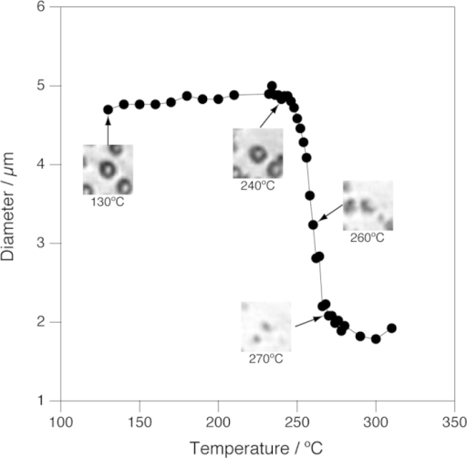 Change of the size of a C. liquefaciens cell in water between 130 °C and 310 °C as a function of temperature.Pressure was kept constant at 25 MPa. Insets show microscopic images corresponding to the temperature of the data points indicated by arrows. Each images are 26 μm × 26 μm.