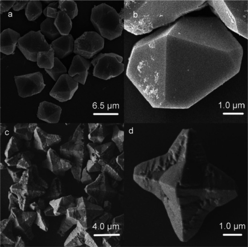 SEM images of as-prepared Fe4(OH)3(PO4)3 samples. a,b) N4 and c,d) N5.
