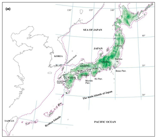 The location and vegetation of Japan. (a) The location of the Japanese Archipelago. The dotted line indicates the coastline of the Last Glacial Maximum about 20,000 years ago. (b) Vegetation during LGM based on Kamei and Research Group for the biogeography from Würm Glacial [29]. Circles indicate the existence of pollen records of broadleaved evergreen trees at the LGM [22,30]. (c) Potential natural vegetation at present [31].