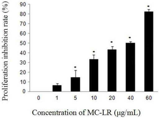 Effect of MC-LR on the proliferation inhibition of rat Sertoli cells using CCK-8 assay. Cells were exposed to MC-LR at different concentrations (0, 1, 5, 10, 20, 40, and 60 μg/mL) for 24 h, and the optical density (OD) was detected with CCK-8 assay. Data were presented as mean ± SEM of triplicate independent experiments. *P < 0.05 vs. control group.