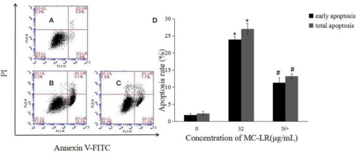 Effects of NAC pretreatment on apoptosis rate of rat Sertoli cells. (A–C) Cell apoptosis rate was determined by flow cytometry. (A) Control group; (B) 32 μg/mL MC-LR; (C) 10 mM NAC+32 μg/mL MC-LR; (D) Data were expressed as mean ± SEM. N+, 10 mM NAC + 32 μg/mL MC-LR. *P < 0.05 vs. control group; #P < 0.05 vs. 32 μg/mL MC-LR.