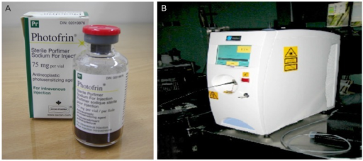 Porfimer photosensitizer (A: Photofrin, Axcan Pharma Inc., Canada/USA; INMEX Corp., Seoul, Korea) and non-thermal laser device (B: Diomed 630 nm PDT laser, Diomed, Cambridge, UK; LitePharmTech Co., Seoul, Korea).